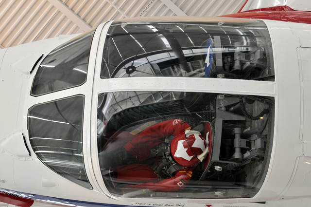 Fighter Pilot manaquin in cockpit of fighter jet at Canadian Aviation Museum